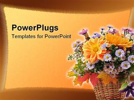 Bouquet of autumn flowers in basket powerpoint template