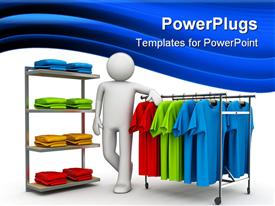PowerPoint template displaying a 3D character resting on hangers with different colorful shirts