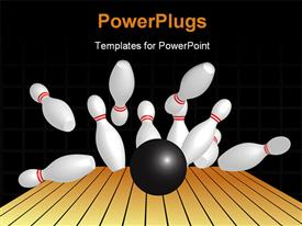 PowerPoint template displaying a number of pins being hit by a bowling ball