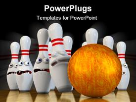 PowerPoint template displaying a golden bowling ball hitting a set of white bowling ins