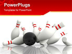 PowerPoint template displaying black bowling ball in motion makes exact hit on bowling pins