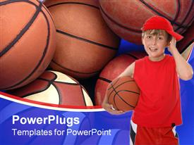 PowerPoint template displaying a kid with a basketball along with a number of basket balls in the background
