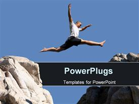 PowerPoint template displaying boy jumping over the mountains