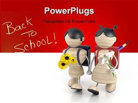 Model boy and girl and yellow flowers powerpoint theme