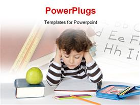 PowerPoint template displaying learning depiction with young boy studying with learning tools on desk