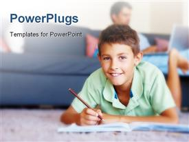 PowerPoint template displaying smart young boy studying on the floor with father in the background