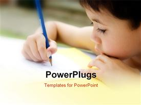 PowerPoint template displaying kid working in the classroom with blurr background