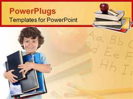 PowerPoint template displaying young school kid holding lots of books and smiling