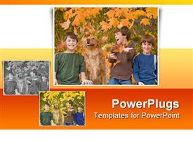 Boys in the Fall Leaves With the Dog powerpoint template