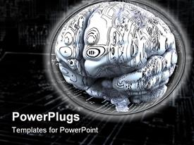 PowerPoint template displaying artificial Intelligence concept. Brain over the main board or electronic circuits in the background.