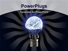 PowerPoint template displaying brains in the light bulb in the background.