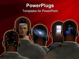 PowerPoint template displaying a group of people with technology in their minds