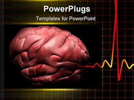 PowerPoint template displaying human brain with ECG in black color