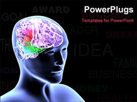 PowerPoint template displaying scan of human head showing colorful brain over black background