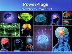 PowerPoint template displaying balls of energy jump out the brain. Concept of idea the power of mind in the background.