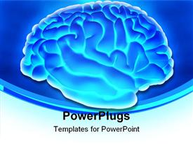 PowerPoint template displaying human brain from the side over a blue background
