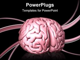 PowerPoint template displaying human brain sitting on top of a large transparent FREE sticker with curled ends