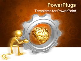 PowerPoint template displaying bronze figure pushing gigantic gear with bronze brain at center