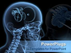 PowerPoint template displaying close-up X-Ray of a male skeleton head with a series of gears for the concept of thought