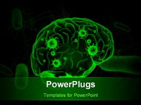 PowerPoint template displaying anatomy depiction of a human brain with viruses in green