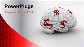 Brain with dollar signs - money on the mind powerpoint theme