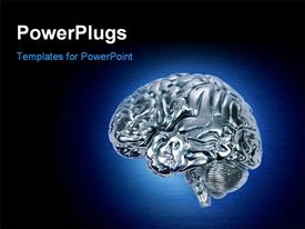 PowerPoint template displaying metallic chrome brain with blue halo on stainless background.
