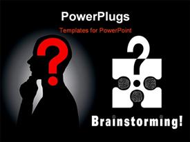 PowerPoint template displaying conceptual brainstorming symbol composed by a puzzle piece and three human brains in the background.