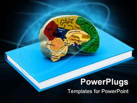 PowerPoint template displaying model brain on a book