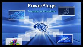 PowerPoint template displaying brain technology background and different windows