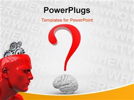 PowerPoint template displaying human brain and a question mark