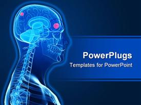 PowerPoint template displaying a 3D human character showing the brain and skeleton