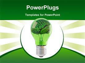 PowerPoint template displaying brains inside a green bulb