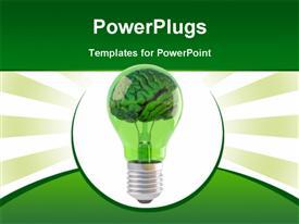 Brains inside a green bulb presentation background