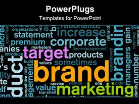 PowerPoint template displaying word cloud of Brand marketing corporate sector