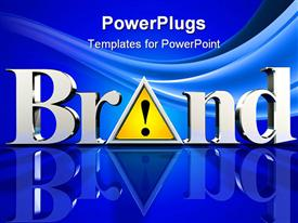 PowerPoint template displaying the word brand with bluish background
