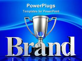 PowerPoint template displaying silver trophy cup for brand winner on blue background