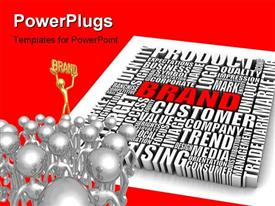 PowerPoint template displaying a number of words related to business and a lot of people