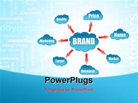 PowerPoint template displaying depiction of brand make up, price, name, market, research etc