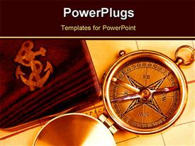 PowerPoint template displaying a compass with its cover in the background