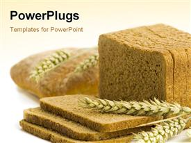 PowerPoint template displaying the brown bread with brownish background