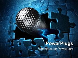 PowerPoint template displaying chrome spherical ball breaks out of blue jigsaw puzzle like wall