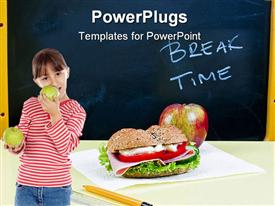 Sandwich and apple on classroom table - breakfast presentation background