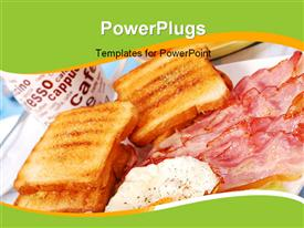 PowerPoint template displaying bacon, eggs and toasts for English breakfast