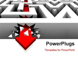 Red arrow crashes through the walls of a maze to freedom powerpoint template