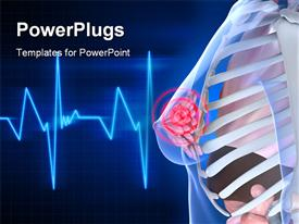 PowerPoint template displaying cardiogram pulse line in background with anatomy of female upper body