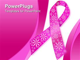 PowerPoint template displaying pink breast cancer ribbon with sparkly flowers on a pink and white background