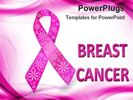 PowerPoint template displaying pink breast cancer awareness ribbon with glitter flowers, white and pink wave background