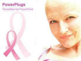 PowerPoint template displaying breast cancer survivor smiles happily in the background.