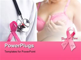 PowerPoint template displaying doctor with pink badge and woman in pink bra on background a concept for breast cancer in the background.