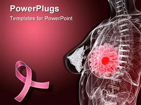 PowerPoint template displaying imaginative female anatomy depicting breast tumor with pink ribbon for fighting breast cancer on dark pink background